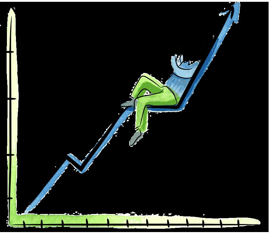 Hombre sobre gráfico bancario de crecimiento sosteniendo un dispositivo móvil