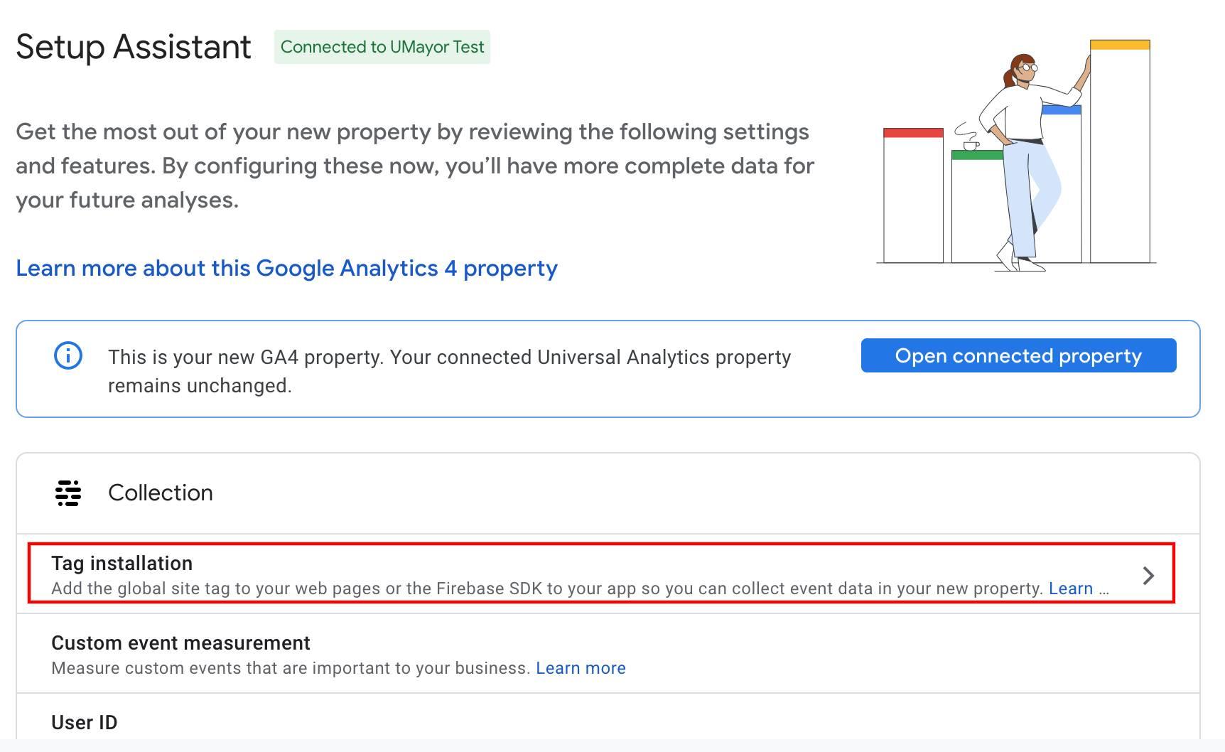 google analytics 4 setup assistant select tag installation