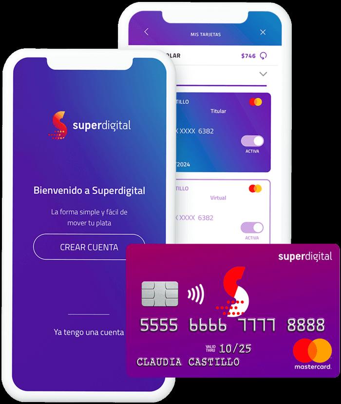 Celular mostrando la aplicación y tarjeta de crédito