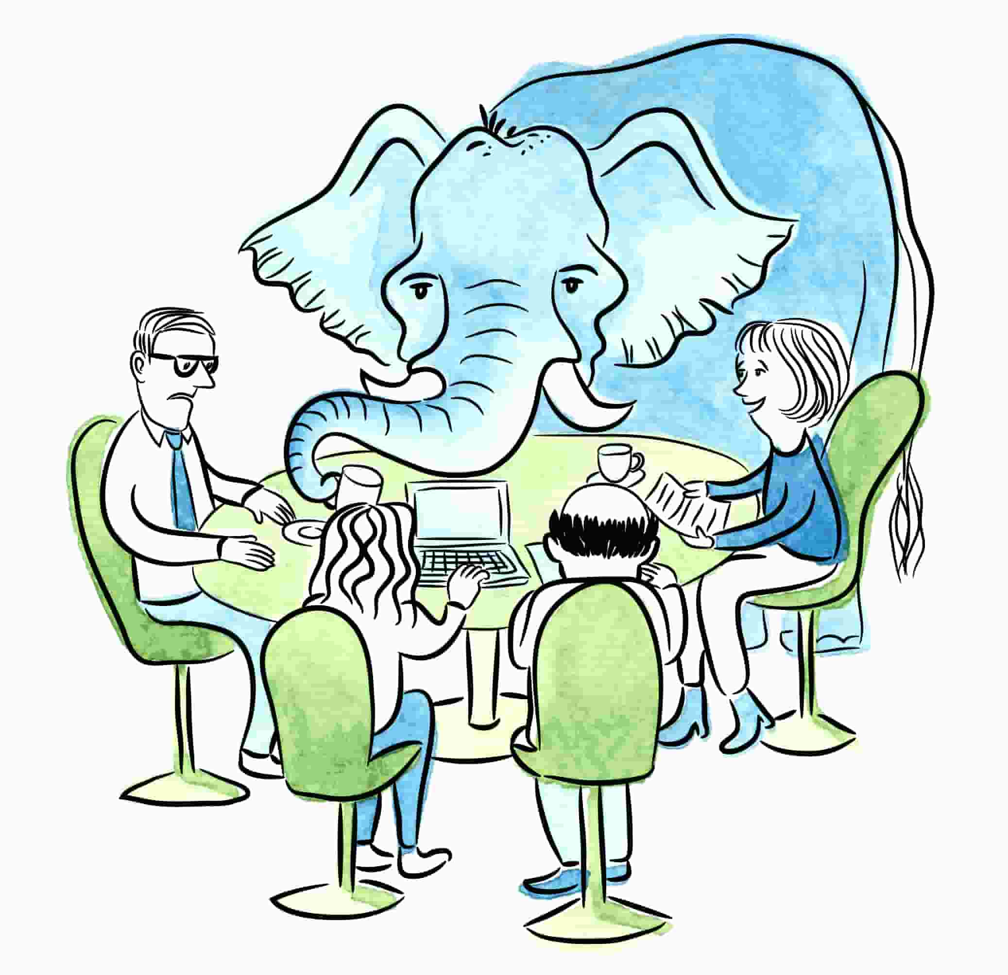 a round table of people trying to work while ignoring an elephant in the room