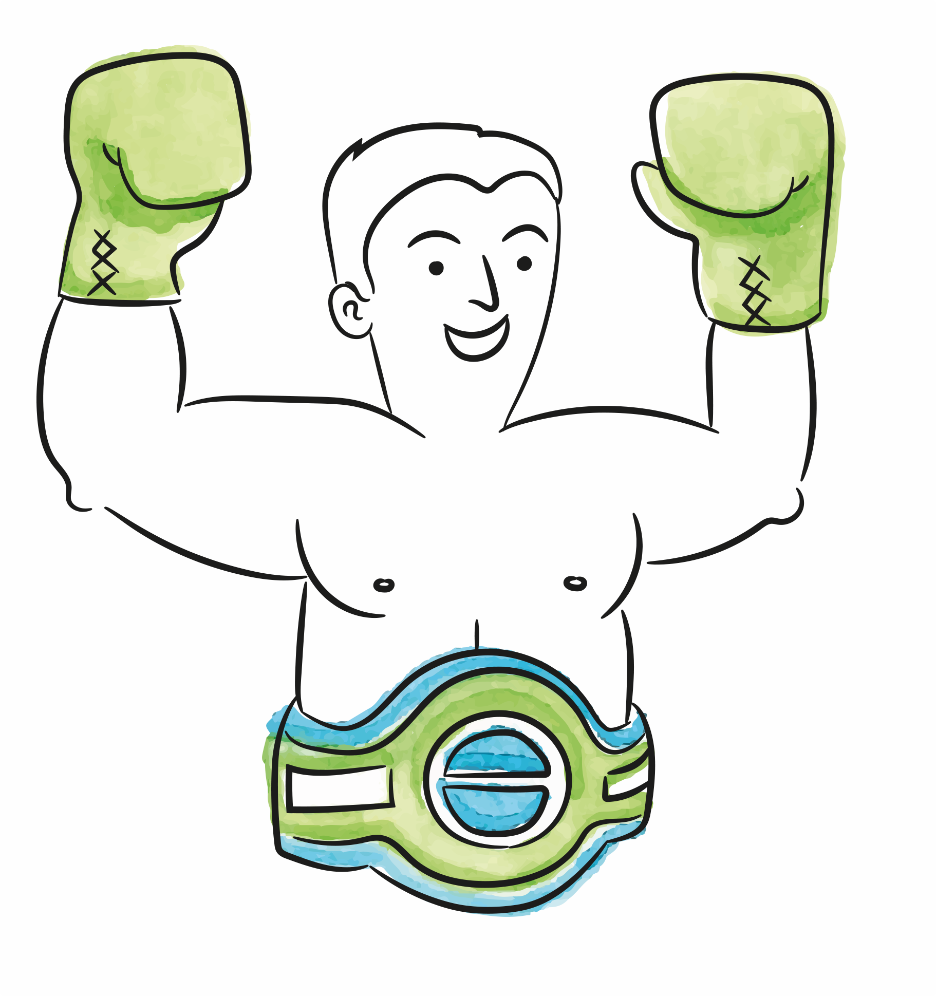 illustration of a boxer with the champion belt