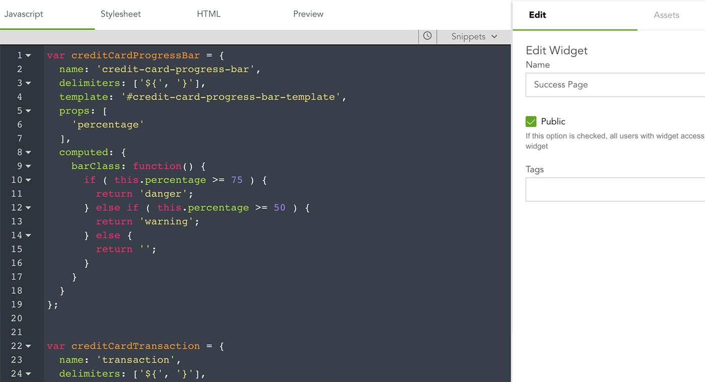 Editor de javascript de la plataforma