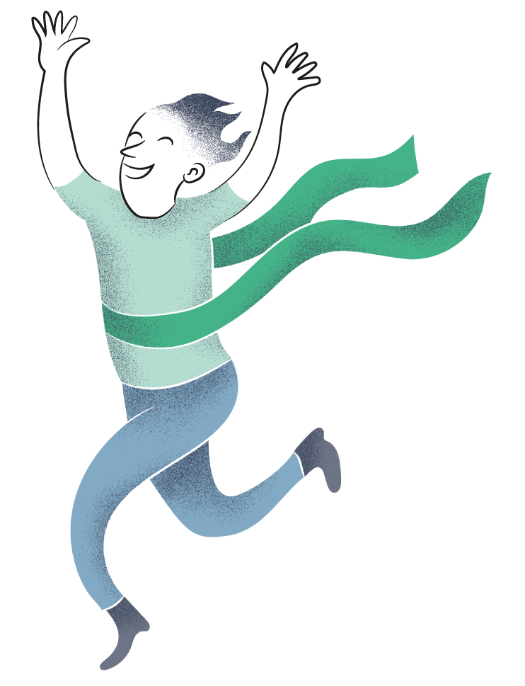 person happily running with arms in the air