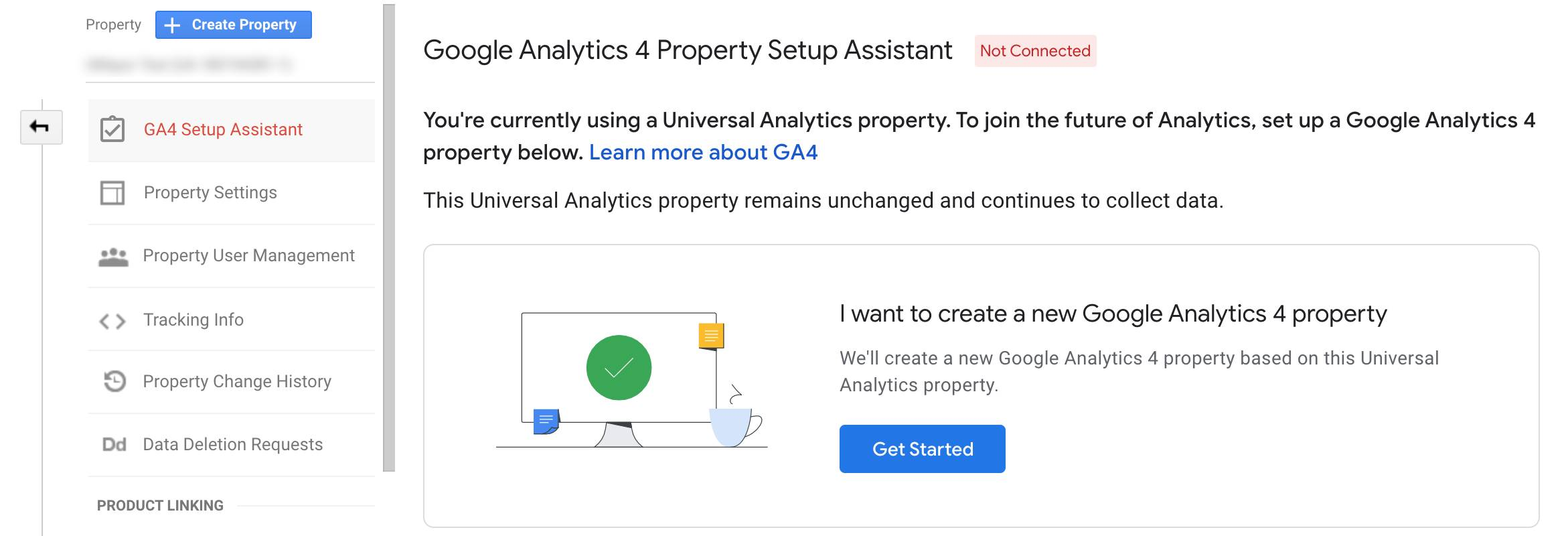 google analytics 4 property assistant select get started