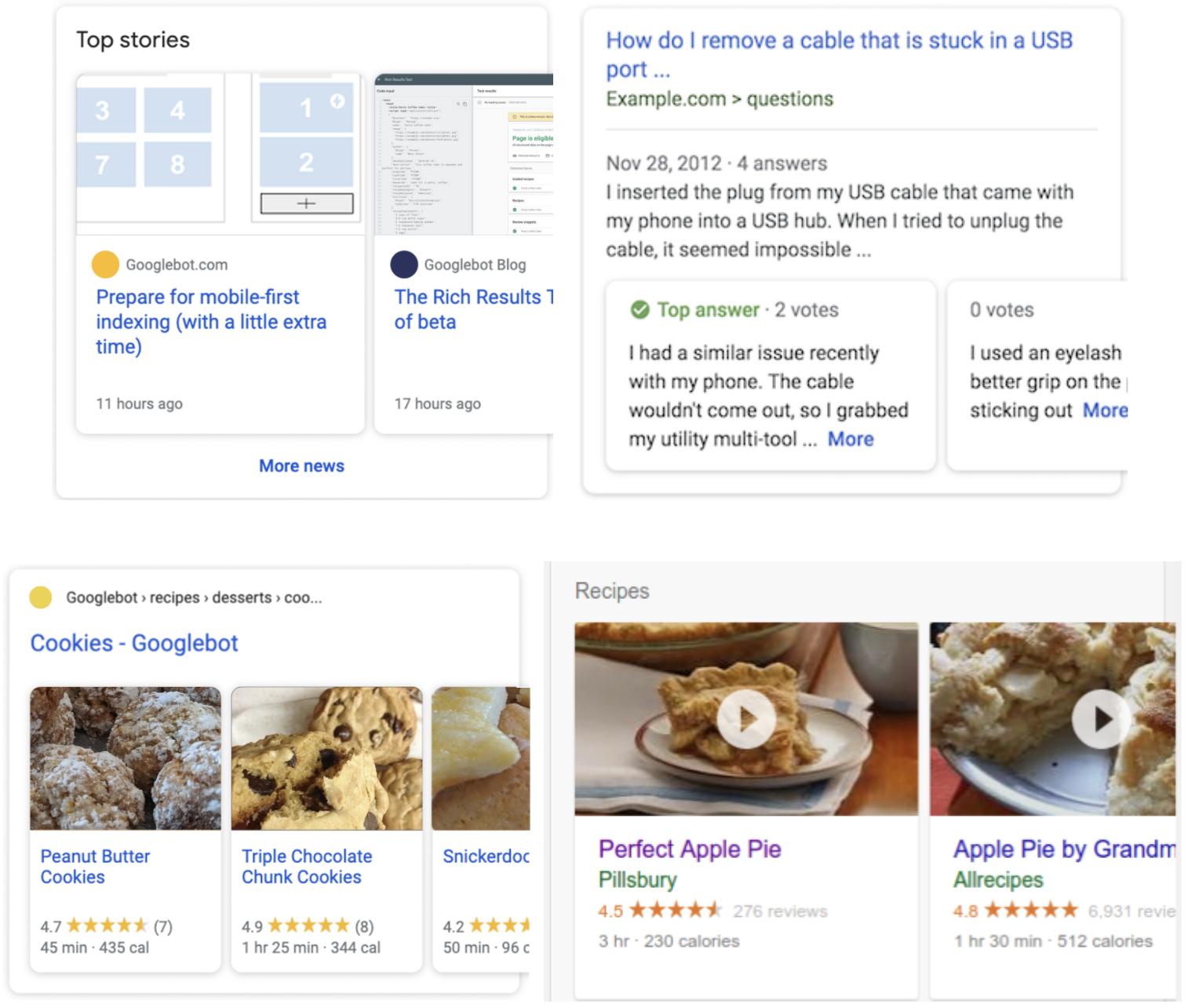 Ejemplos de resultados de google en formato de datos estructurados