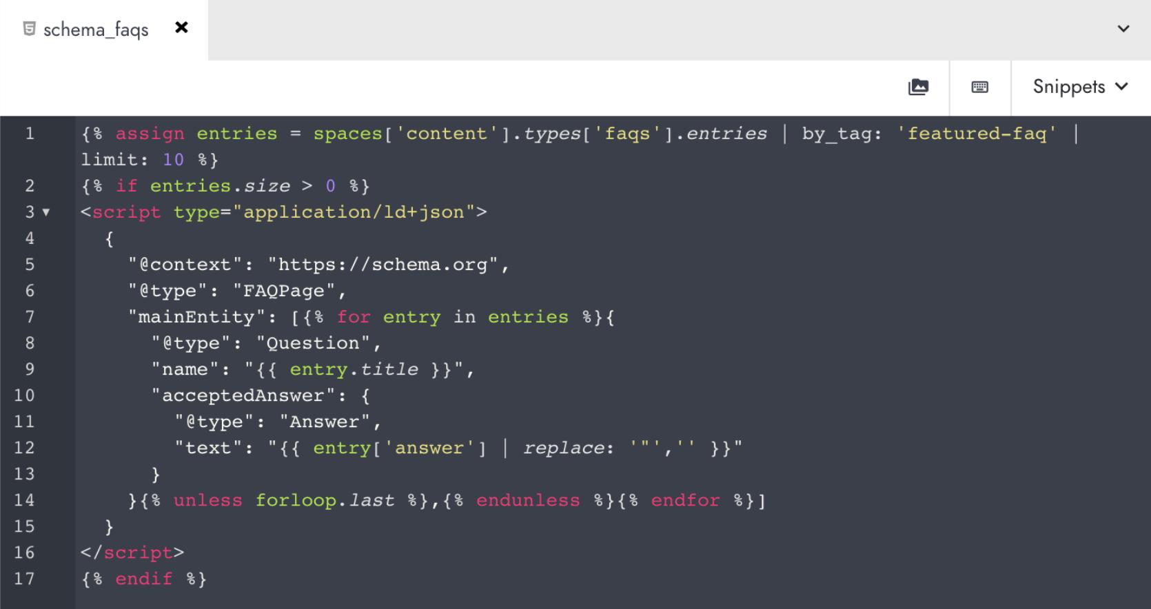Ejemplo de datos estructurados aplicados en el backend de Modyo