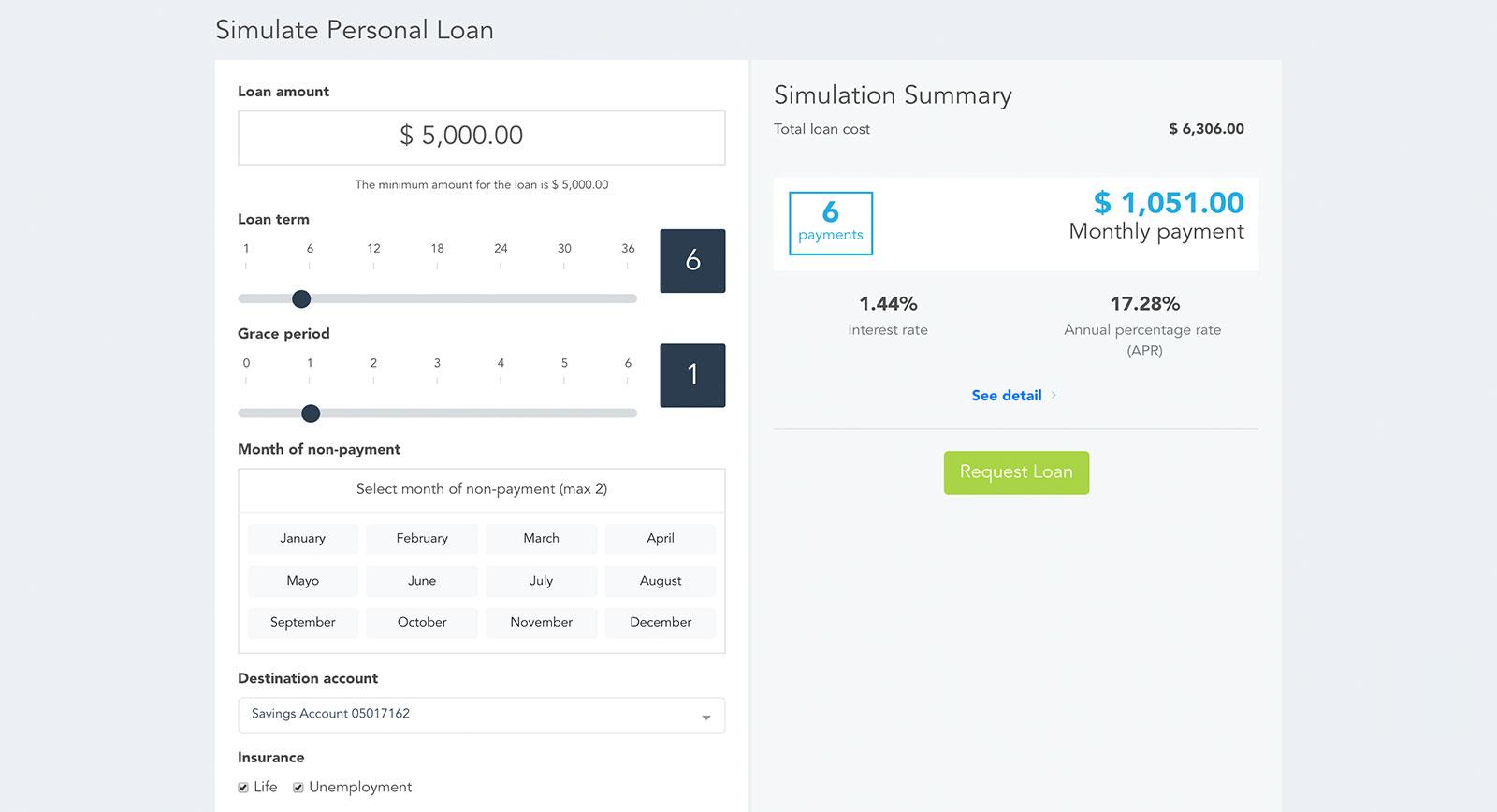 Widget bancario de Modyo para simular créditos