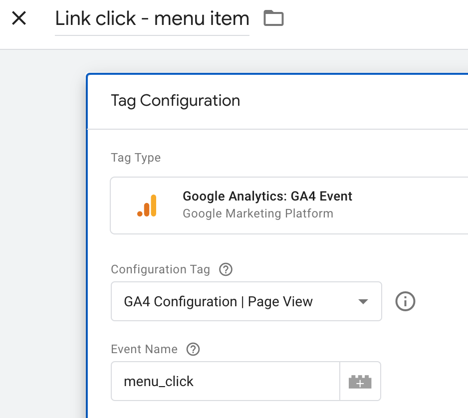 tag configuration google analtyics ga4
