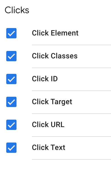 different types of clicks, shows click element, classes, ID, target, URL and text