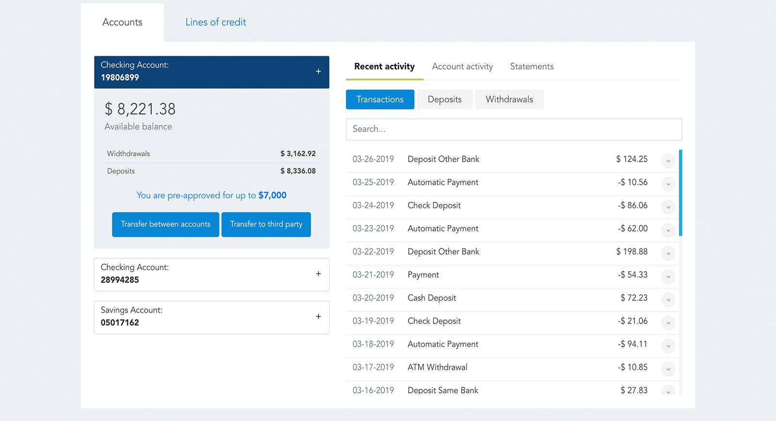 Widget bancario de Modyo para resumen de las cuentas
