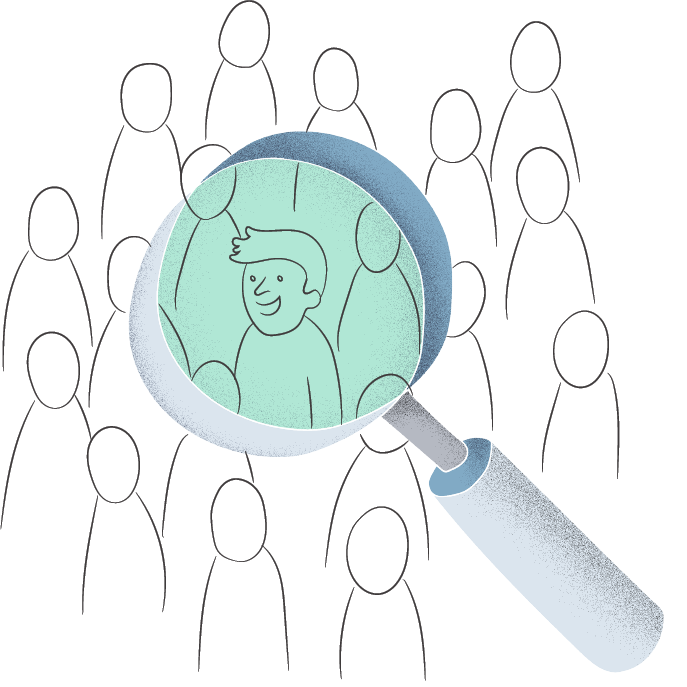magnifying glass hovering over crowd of people and focusing on one person