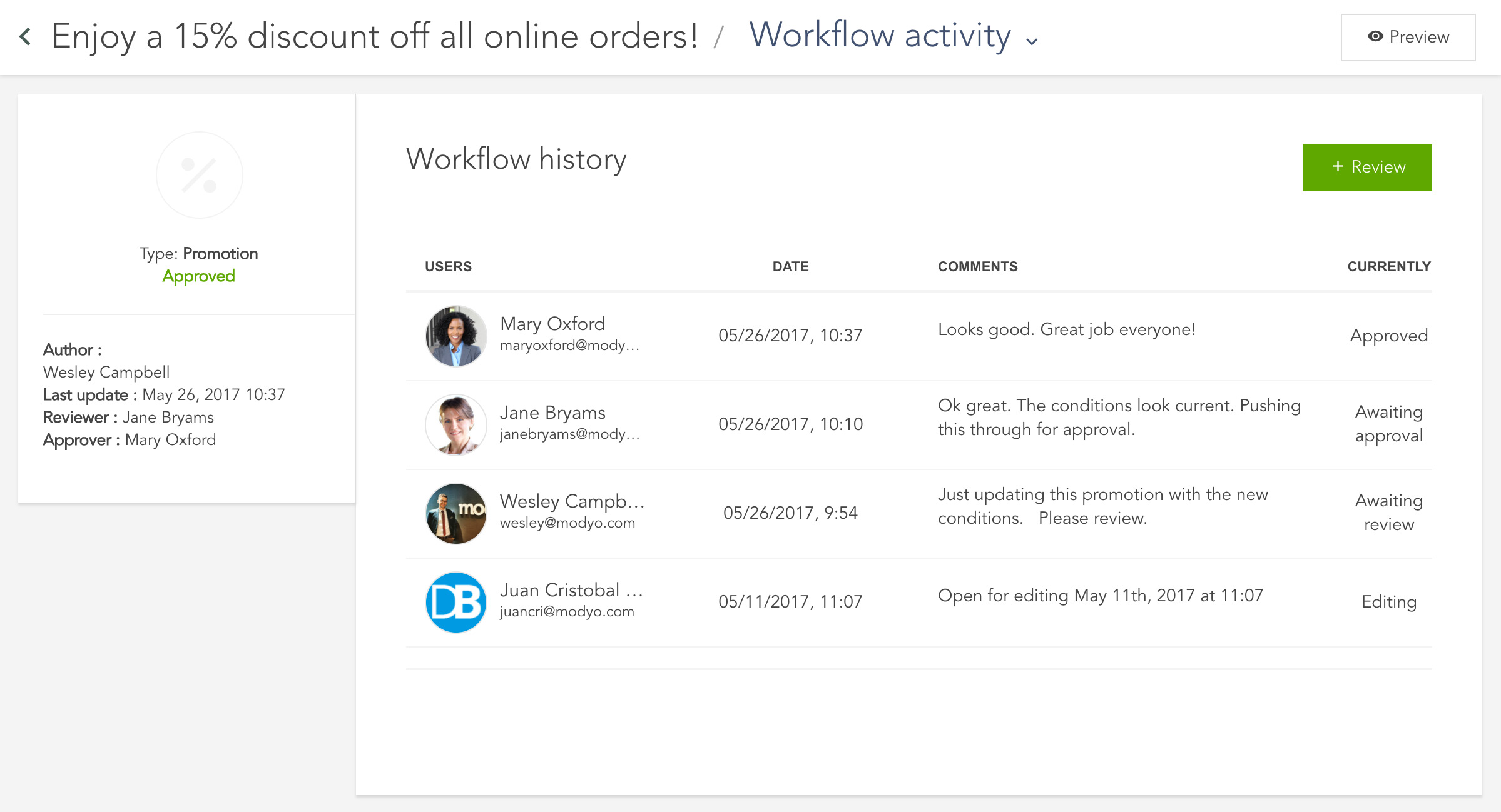 Funcionalidad de flujos de trabajo de la plataforma Modyo