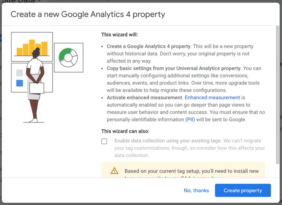 create a new google analytics 4 property select create property
