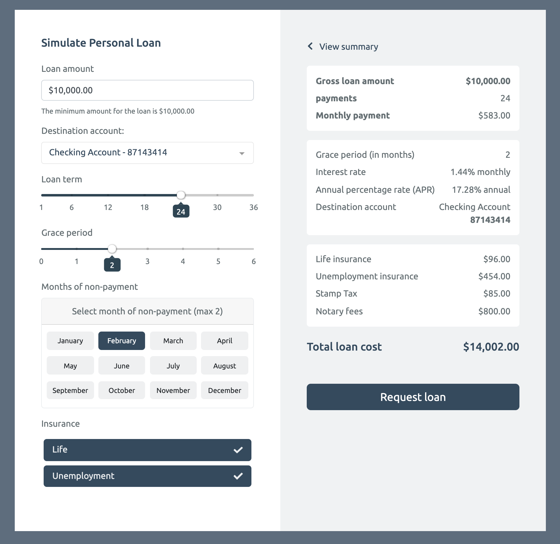 example of a widget to simulate a personal loan