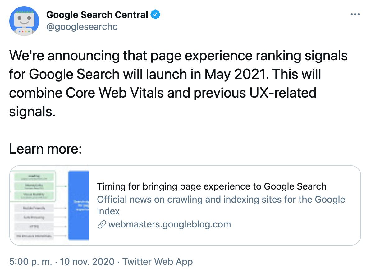 Tweet from google search central. We're announcing that page experience ranking signals for Google Search will launch in May 2021.