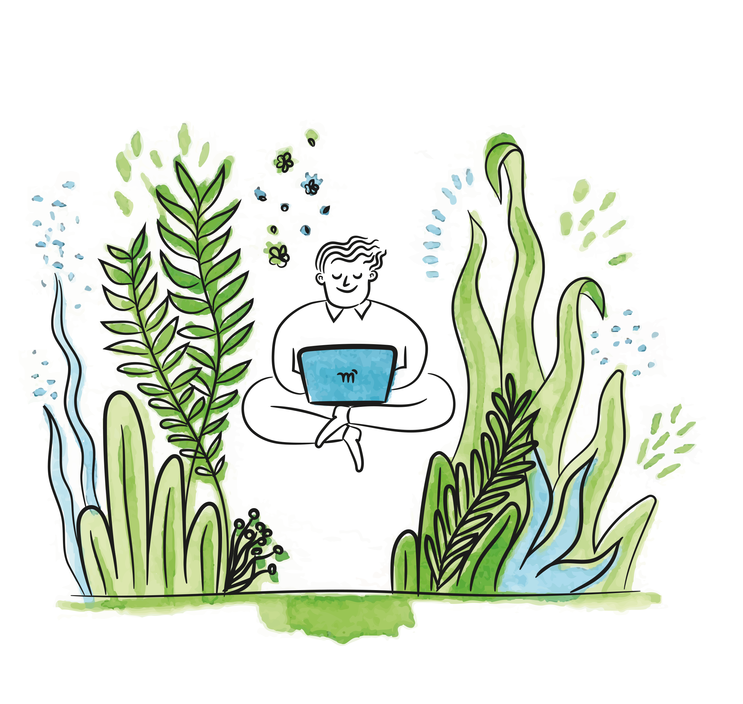 happy person using a computer in nature