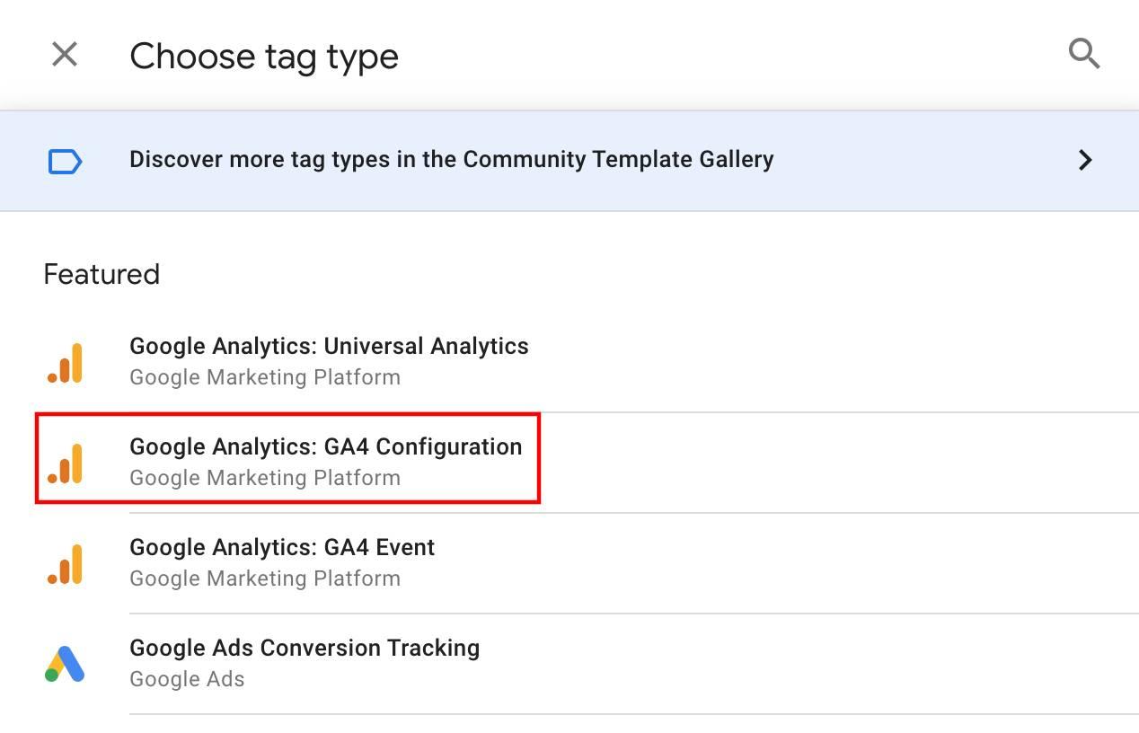 choose tag type select google analytics ga4 configuration