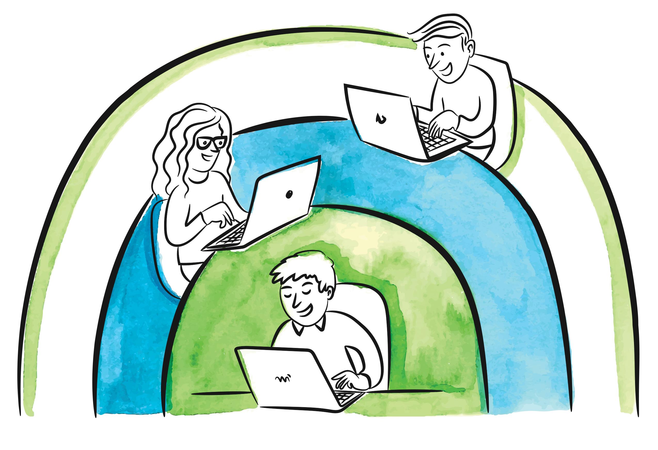 three people working in separate spaces