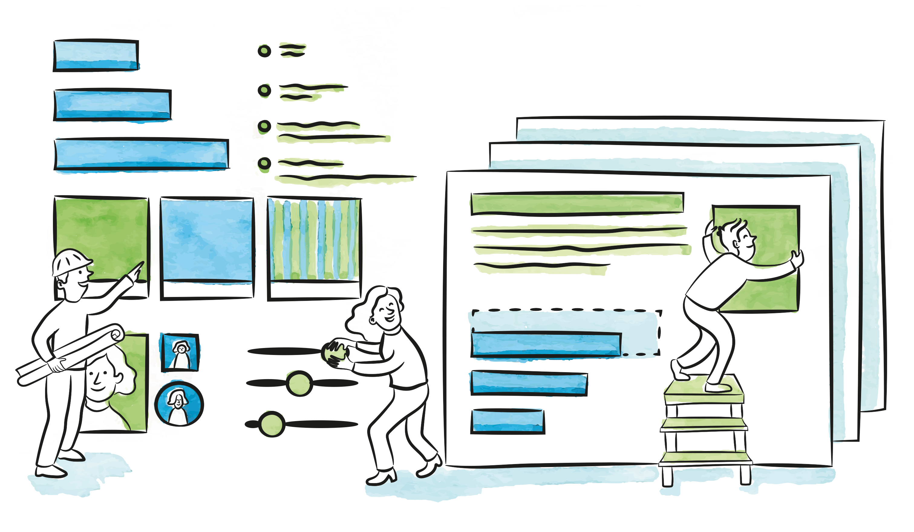 Illustration of people moving widgets around on a website as it was a construction site