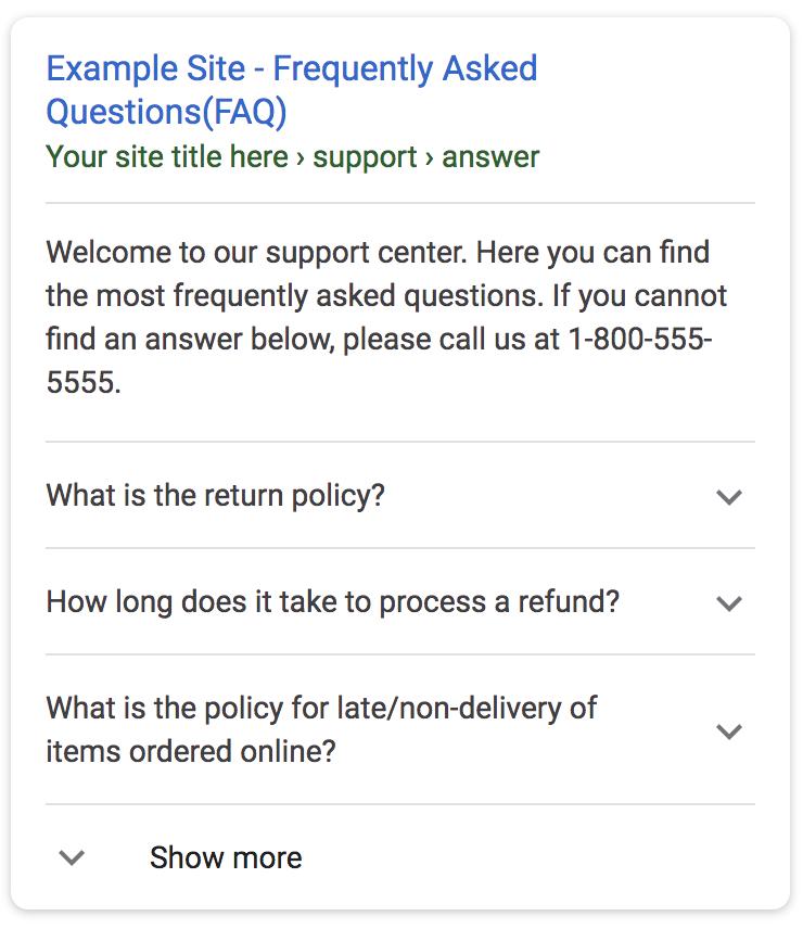 Ejemplo de preguntas frequentes en formato de datos estructurados