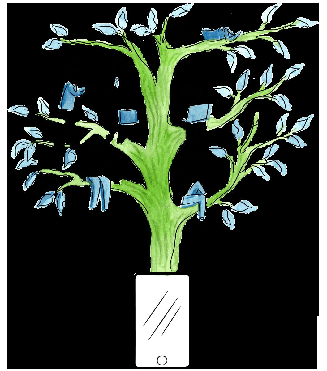 Árbol creciendo desde un dispositivo móvil con personas interactuando digitalmente sobre él