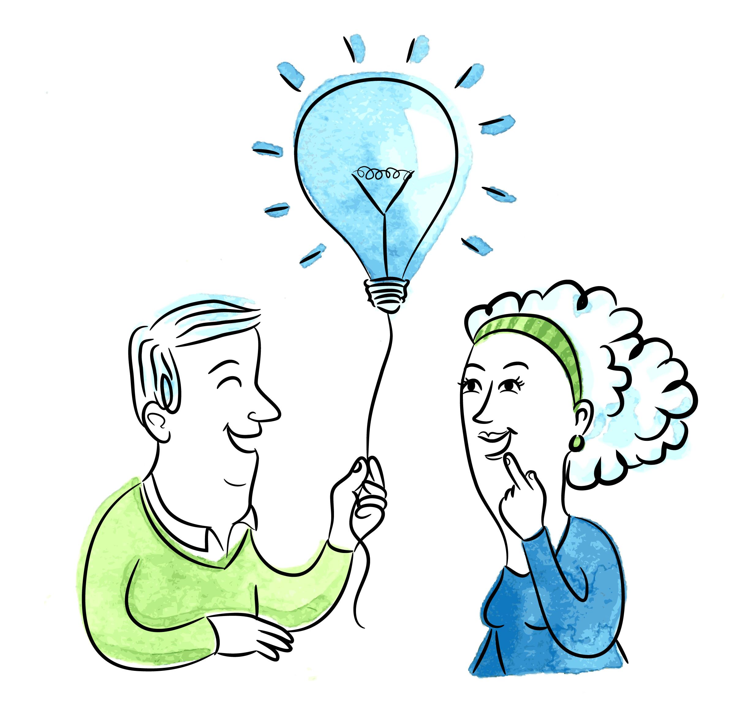 man handling a balloon shaped as an idea bulb to a woman