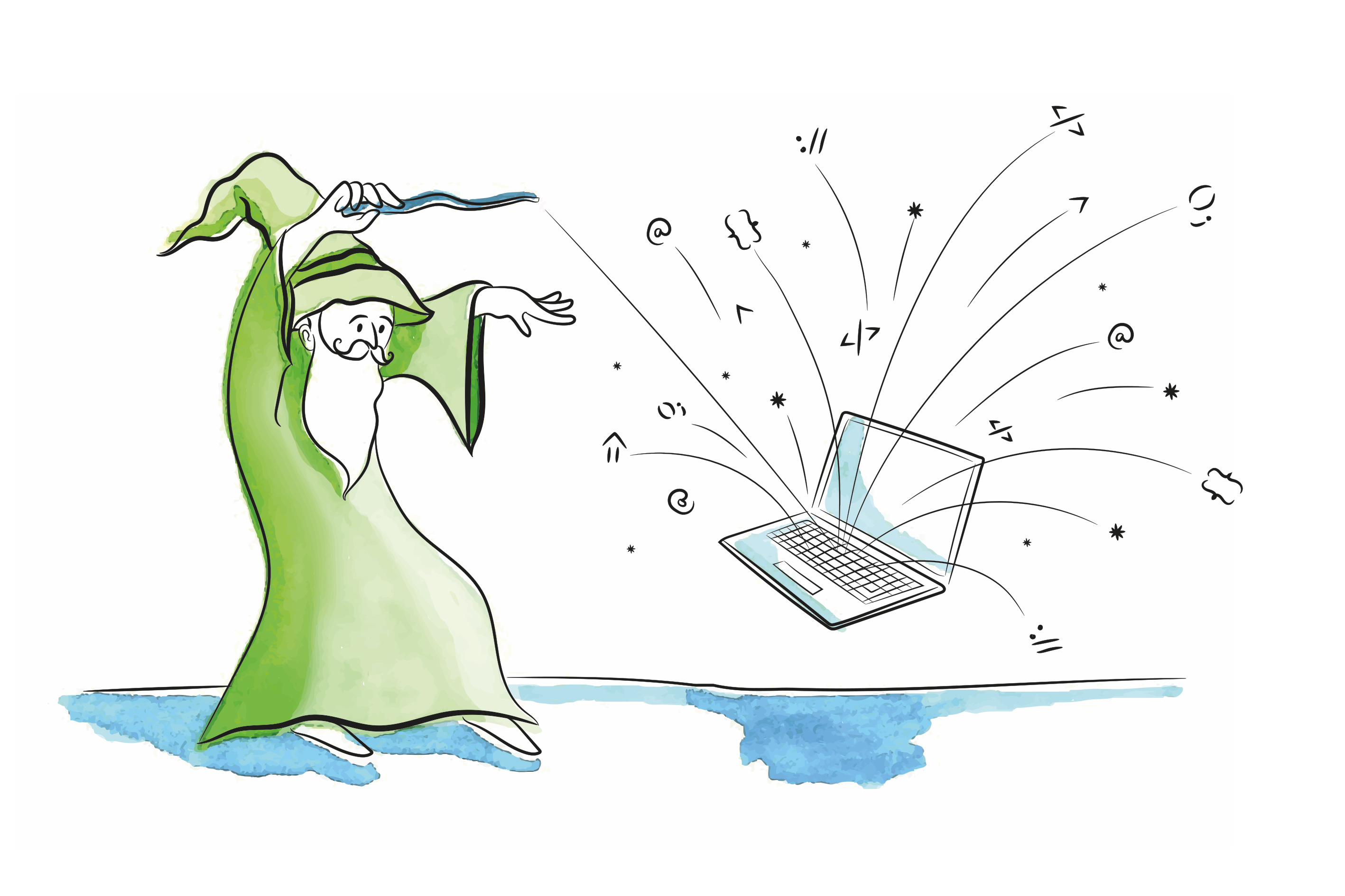 a wizard casting a magic spell on a floating laptop