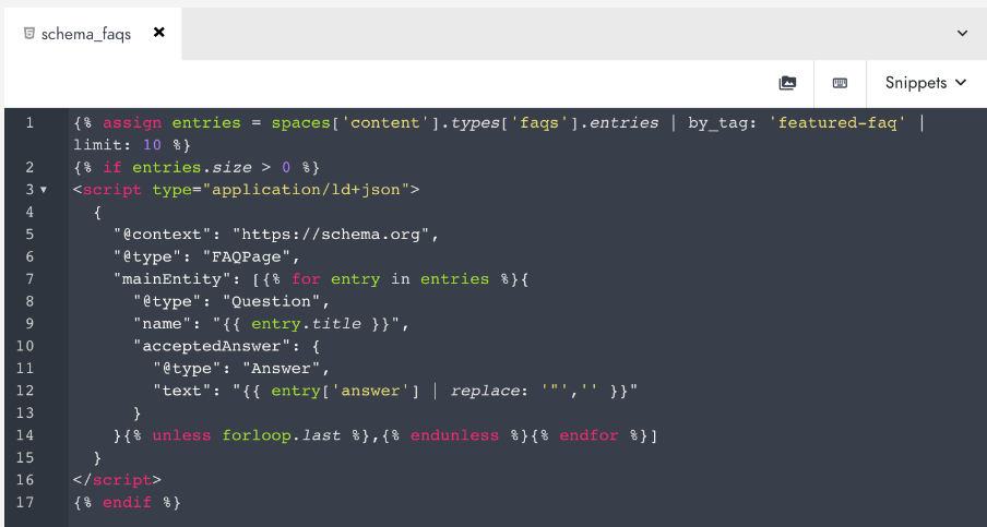 Schema for FAQ type in Modyo Content