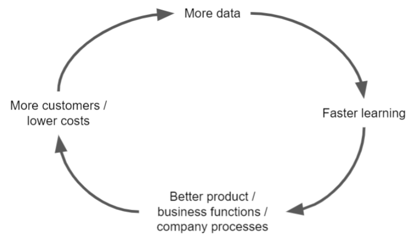 circle that says more data, faster learning, better product/ business functions/ company processes, and more customers/lower costs
