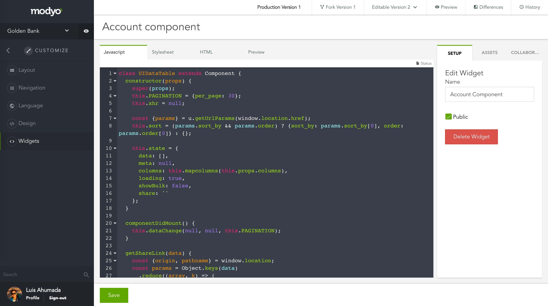 Editor de JavaScript del generador de widgets de la plataforma Modyo